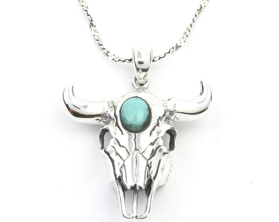 Sterling Silver Bull Skull Turquoise Necklace, Cow Skull, Bones, Animal Skull, Southwestern Jewelry, Turquoise, Spiritual, Boho, Gypsy,
