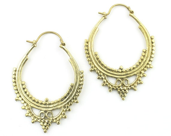 Arish Earrings, Ornate Ethnic Earrings, Tribal Brass Earrings, Festival Earrings, Gypsy Earrings, Hoop Earrings