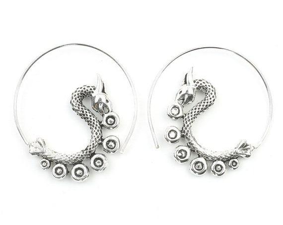 Dragon Earrings, Spiral Earrings, Swirl Earrings, Tribal Earrings, Festival Jewelry, Gypsy Earrings, Ethnic, Yoga