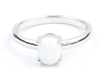 Arctic Opal Ring, Sterling Silver White Opal Ring, Stone Jewelry, Cosmic, Boho, Gypsy, Minimal, Festival Jewelry, Spiritual, Modern