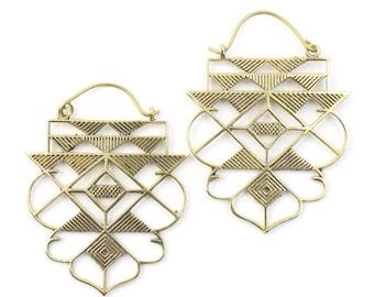 Sacred Geometry Earrings, Geometric Triangle Earrings, Alchemy Earrings, Modern Earrings, Festival, Gypsy Earrings, Ethnic,