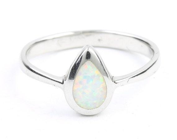 Dew Drop Opal Ring, Sterling Silver White Opal Ring, Stone Jewelry, Cosmic, Boho, Gypsy, Minimal, Festival Jewelry, Spiritual, Modern