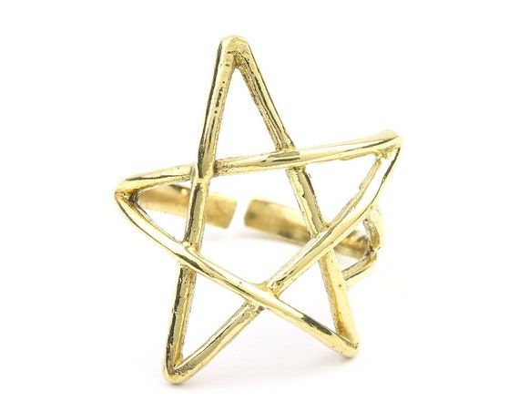 Brass Pentagram Ring, Star Ring, Pentacle Ring, Minimal Ring, Modern Ring, Wiccan, Festival Jewelry, Gypsy Jewelry, Boho
