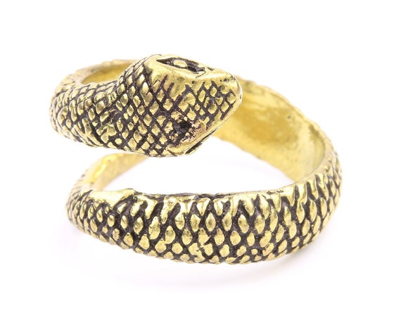 Brass Snake Ring, Wrap Ring, Serpent Ring, Wiccan, Festival Jewelry, Gypsy Jewelry, Boho