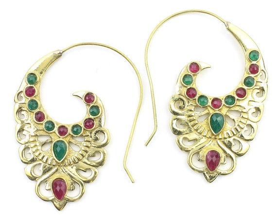 Nile Earrings, Spiral Ornate Stone Earrings, Swirl Earrings, Tribal Earrings, Festival Jewelry, Gypsy Earrings, Ethnic, Yoga