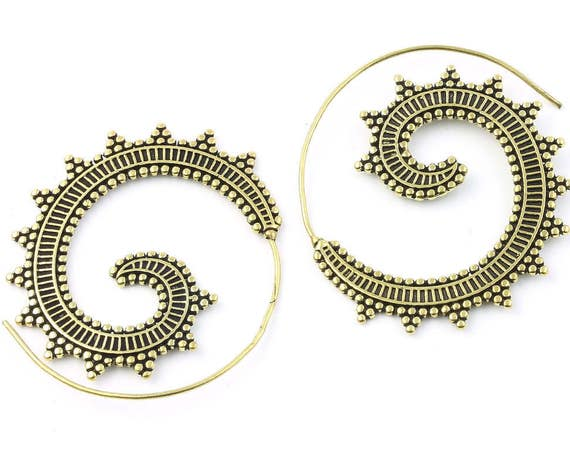 Sun Shadow Earrings, Brass Ethnic Earrings, Spiral, Boho, Bohemian, Tribal, Festival Jewelry, Gypsy, Hippie, Contemporary, Statement Piece