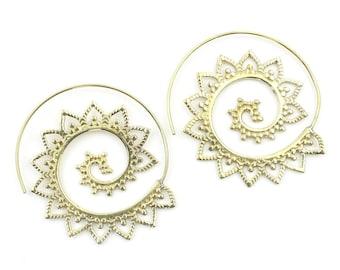 Suez Earrings, Spiral Mandala Earrings, Swirl Earrings, Tribal Earrings, Festival Jewelry, Gypsy Earrings, Ethnic, Yoga