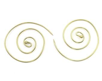 Simple Spiral Earrings, Spiral Brass Earrings, Swirl Earrings, Tribal Earrings, Festival Jewelry, Gypsy Earrings, Ethnic, Yoga