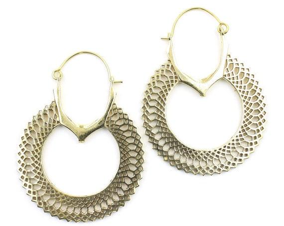 Giza Earrings, Ornate Ethnic Hoop Earrings, Tribal Brass Earrings, Festival Earrings, Gypsy Earrings, Hoop Earrings