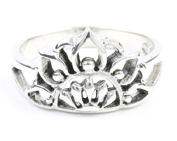 Rising Sun Mandala Ring, Sterling Silver Mandala, Flower, Mehndi Ring, Modern, Ethnic, Boho, Bohemian, Gypsy, Festival Jewelry