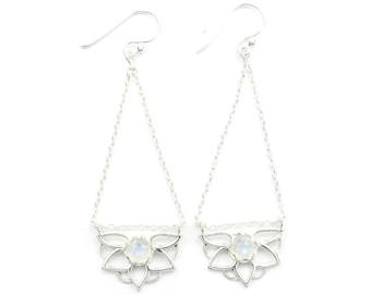 Moonstone Lotus Earrings, Sterling Silver Moonstone Earrings, Flower Earrings, Crystal, Stone, Gemstone, Rainbow Moonstone