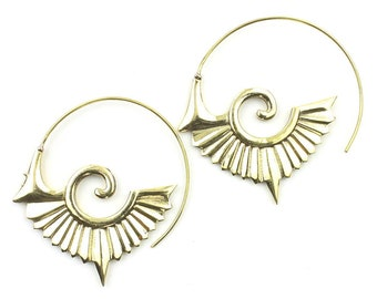 Minya Earrings, Spiral Earrings, Swirl Earrings, Tribal Earrings, Festival Jewelry, Gypsy Earrings, Ethnic, Yoga
