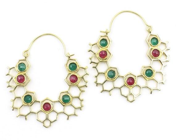 HoneyComb Stone Earrings, Molecule Earrings, Boho, Festival, Gypsy, Ethnic Jewelry, Modern, Contemporary, Eclectic, Statement Earrings