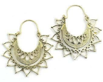 Luxor Earrings, Mandala Earrings, Flower Earrings, Brass, Modern Earrings, Festival, Gypsy Earrings, Ethnic