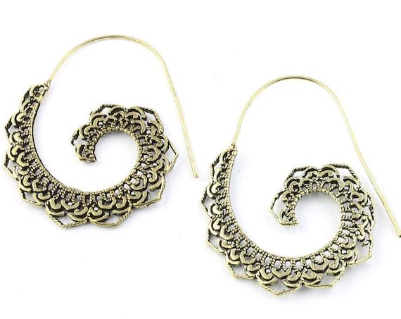 Mandala Moon Earrings, Brass Ethnic Earrings, Spiral, Boho, Bohemian, Tribal, Festival Jewelry, Gypsy, Hippie, Contemporary, Filligree