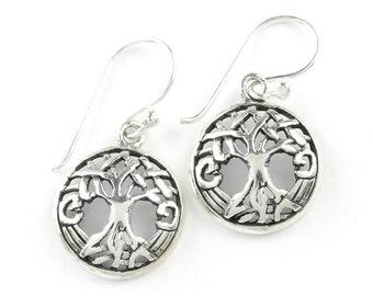 Celtic Tree of Life Earrings, Sterling Silver Tree Earrings, Boho, Festival Jewelry, Gypsy, Hippie Jewelry, Spiritual