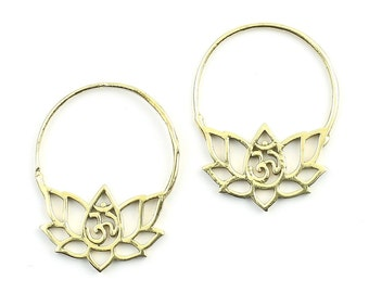 Lotus Earrings, Om Earrings, Ornate Ethnic Earrings, Tribal Brass Earrings, Festival Earrings, Gypsy Earrings, Hoop Earrings