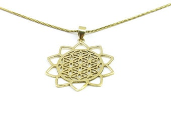 Brass Flower of Life necklace, Sacred Geometry necklace, Flower of Life pendant,