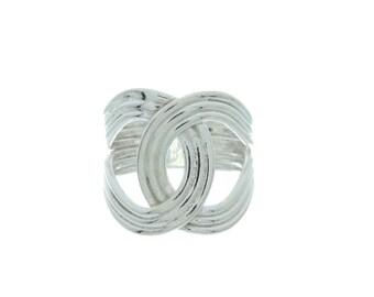 Interlinked Sterling Silver Ring, Minimal Silver Ring, Wide Silver Ring, Modern Silver