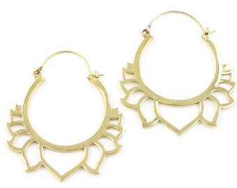 Lotus Flower Earrings, Brass Lotus, Silver Lotus, Tribal Brass Earrings, Festival Jewelry, Gypsy Earrings, Ethnic, Yoga Earrings