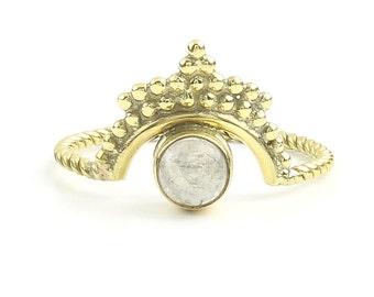 Gaya Ring, Brass Moonstone Ring , Meditation, Yoga Jewelry, Tribal, Ethnic Ring, Gypsy, Hippie Jewelry, Festival Jewelry, Boho