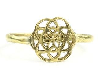 Brass Seed Of Life Ring, Sacred Geometry Ring, Bohemian, Boho, Gypsy, Festival, Yoga, Meditation Jewelry
