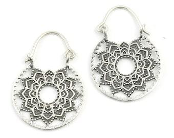 Raipur Mandala Earrings, Sterling Silver, Tribal Earrings, Festival Earrings, Gypsy Earrings, Ethnic Earrings, Mehndi Sterling Earrings
