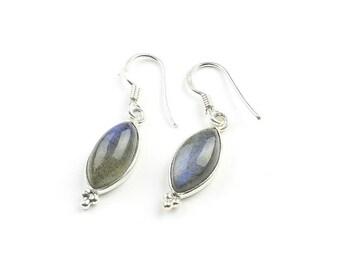 Sterling Silver Labradorite Earrings, Ethnic Earrings, Delicate Earrings, BOHO