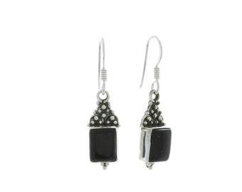 Black Onyx Earrings, Sterling Silver Earrings, Silver Onyx Earrings, Indian Earrings, Ethnic Earrings, Gypsy Earrings