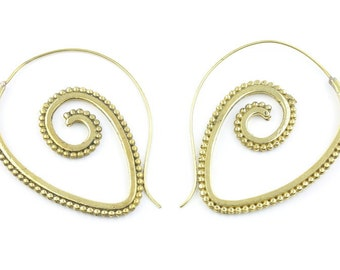 Spiral Brass Earrings, Tribal Brass Earrings, Festival Jewelry, Gypsy Earrings, Ethnic, Golden Spiral Earrings