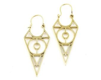 Geometric Brass Earrings, Silver Triangle Earrings, Alchemy Earrings, Minimalist, Modern Earrings, Festival Jewelry, Gypsy Earrings, Ethnic,