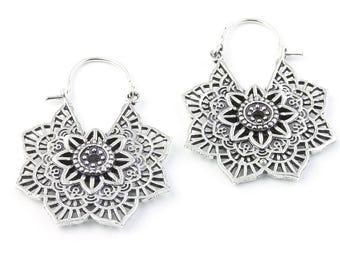 Mandala Earrings , Tribal Earrings, Silver Mandalas, Festival Earrings, Gypsy Earrings, Ethnic Earrings, Hippie, Spiritual, Yoga, Meditation