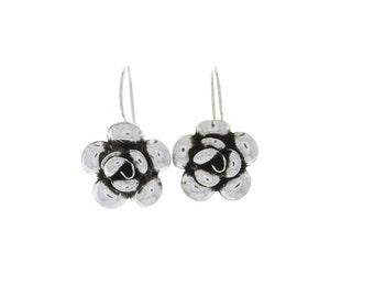 Midnight Rose Earrings, Sterling silver Rose Earrings, Flower Earrings