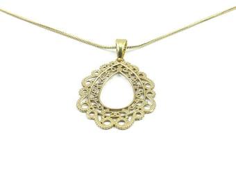 Brass filigree necklace, Ornate pendant, Victorian brass necklace