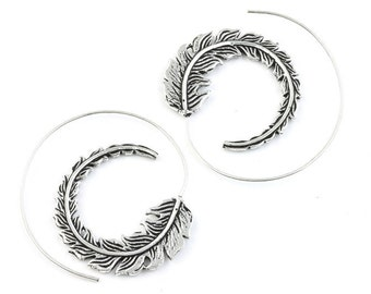 Feather Spiral Earrings, Spiritual, Western Earrings, Festival Jewelry, Gypsy Earrings, Ethnic, Indian