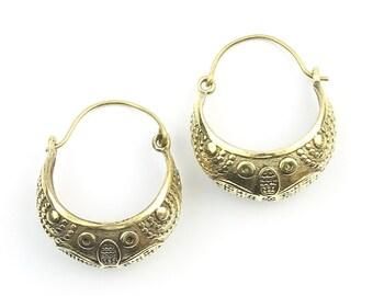 Jhelum Earrings, Ornate Ethnic Hoop Earrings, Tribal Brass Earrings, Festival Earrings, Gypsy Earrings, Hoop Earrings