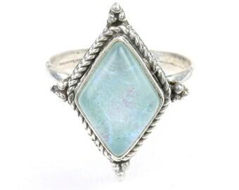Heaven Snow Opal Ring, Sterling Silver Opal Ring, Stone Jewelry, Gemstone, Boho, Gypsy, Wiccan, Hippie, Spiritual, Modern