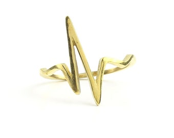 Life Line Brass Ring, Heartbeat Frequency Wave, Pulse Line, Minimal Ring, Modern Ring, Festival Jewelry, Gypsy Jewelry, Boho