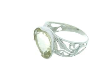 Lemon Love Ring, Sterling Silver Lemon Quartz Ring, Gemstone Ring, Facet Cut, Quartz Ring