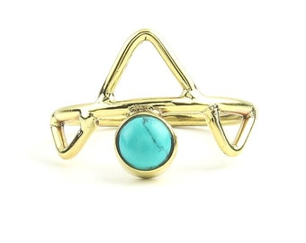 Kota Ring, Brass Turquoise Ring, Yoga Jewelry, Tribal, Ethnic Ring, Gypsy, Hippie Jewelry, Festival Jewelry, Boho