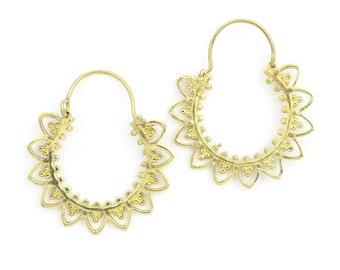 Mandala Hoop Earrings, Brass Earrings, Boho Earrings, Tribal Earrings, Festival Jewelry, Gypsy Earrings, Ethnic, Yoga