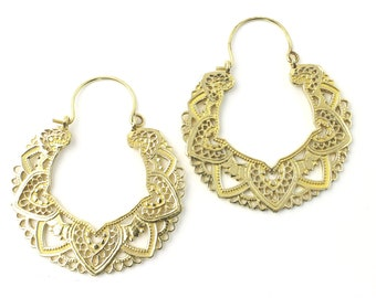 Izmit Earrings, Brass Hoop Earrings, Mandala Earrings, Tribal Earrings, Festival Jewelry, Gypsy Earrings, Ethnic, Yoga