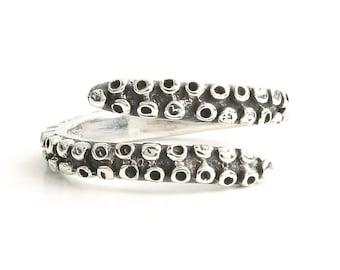 Sterling Silver Octopus Tentacle Ring, Kraken, Ocean, Sea, Nautical, Beach, Coastal, Boho, Bohemian, Festival, Gypsy, Animal Jewelry