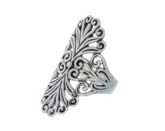 Sterling Silver Filigree Ring, Ornate Ring, Ethnic Ring, Large Sterling Silver Ring
