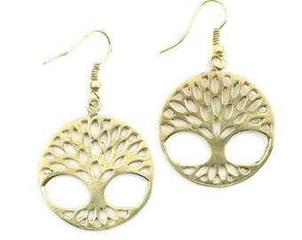 Tree of Life Earrings, Tree, Boho Earrings, Tribal Brass Earrings, Festival Jewelry, Gypsy Earrings, Ethnic, Yoga Earrings