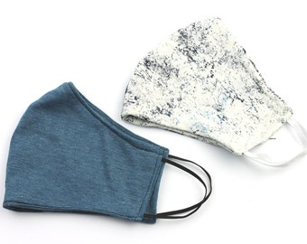 Trendy Face Mask, 2 PACK, washable face mask, reusable face mask, cotton fabric mask, cloth, comfortable fit, 2 layer, USA shipping next day