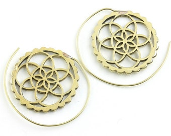 Seed of Life Earrings, Spiral Brass Earrings, Flower of Life Earrings, Gypsy Earrings, Ethnic Earrings