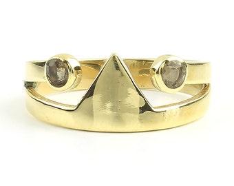 Madurai Ring, Brass Triangle Ring, Smokey Quartz, Geometric, Minimal Ring, Modern Ring, Festival Jewelry, Gypsy Jewelry, Boho