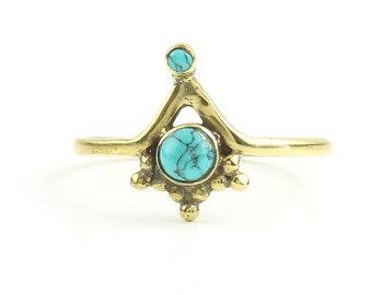 Siliguri Ring, Brass Turquoise Ring, Yoga Jewelry, Tribal, Ethnic Ring, Gypsy, Hippie Jewelry, Festival Jewelry, Boho
