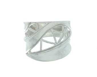 Sterling Silver Geometric Ring, Triangle Ring, Ethnic Ring, Wide Silver Ring